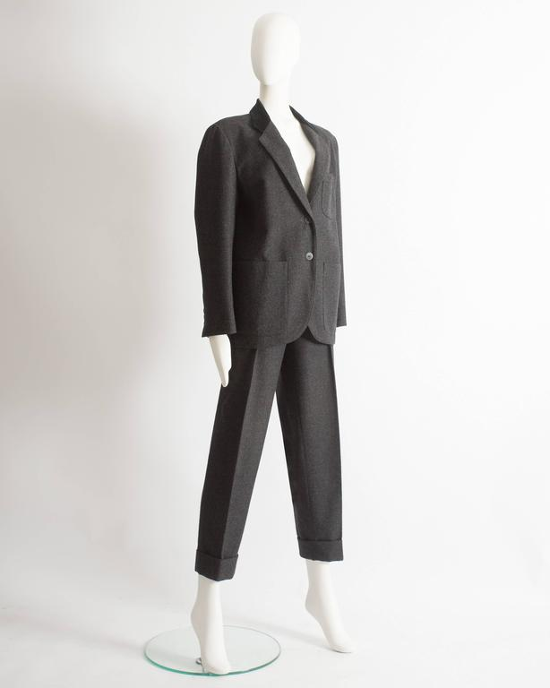Gray Alaia plus sized charcoal gray wool pant suit with velvet collar, AW 1987 For Sale