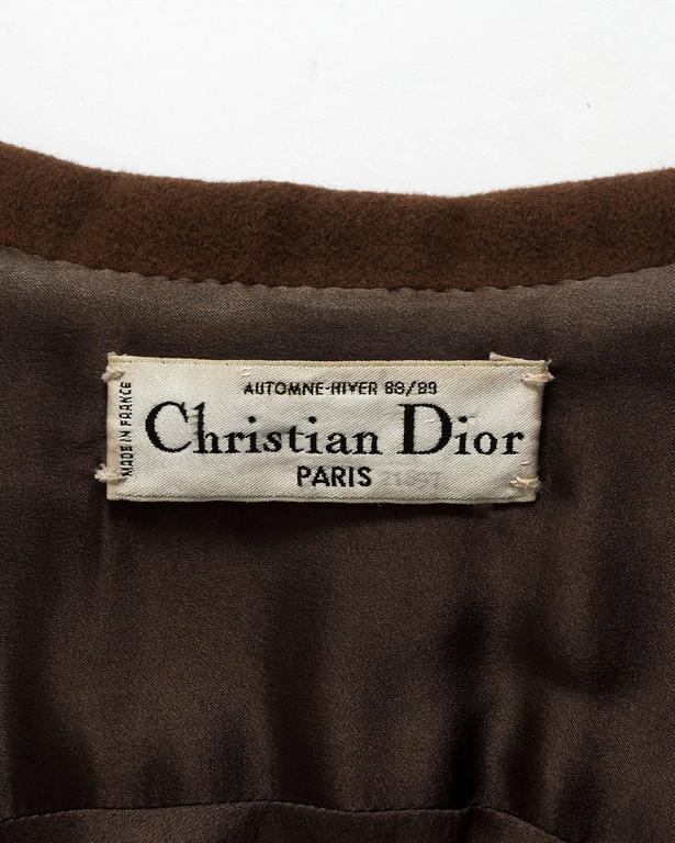 Christian Dior Haute Couture brown cashmere wool jacket, AW 1988 7