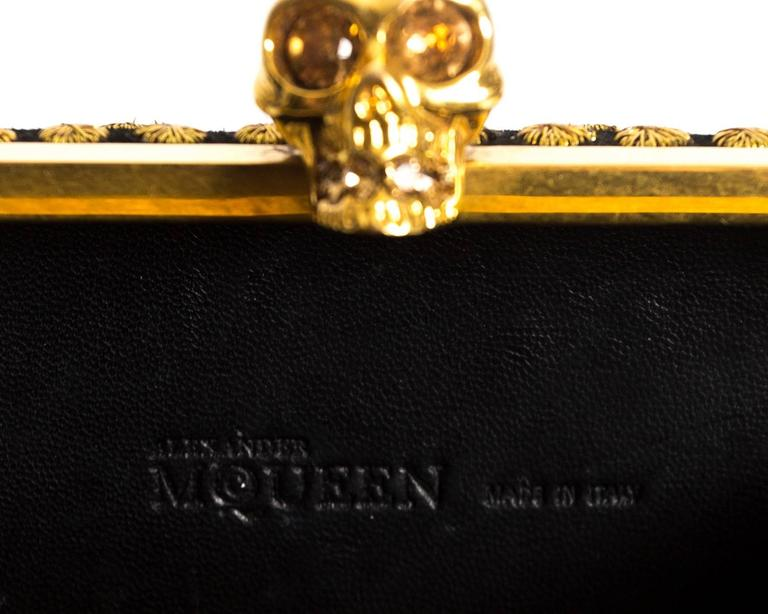 Alexander McQueen hard case embroidered skull evening clutch For Sale 3