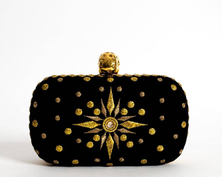 Alexander McQueen hard case embroidered skull evening clutch For Sale 1