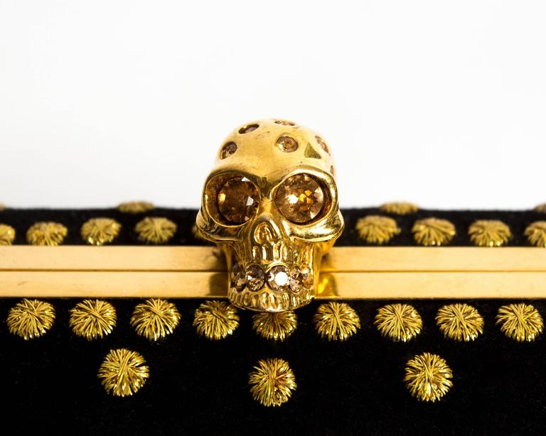 Alexander McQueen hard case embroidered skull evening clutch bag