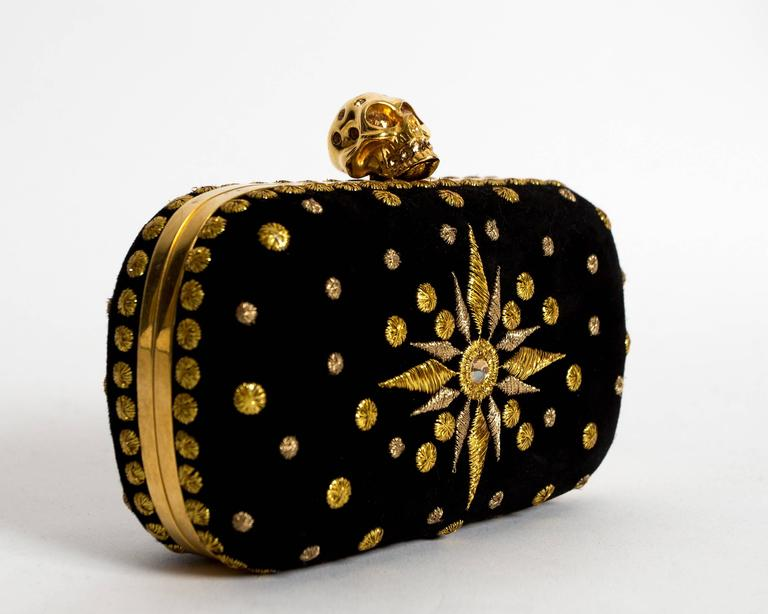 Black Alexander McQueen hard case embroidered skull evening clutch For Sale