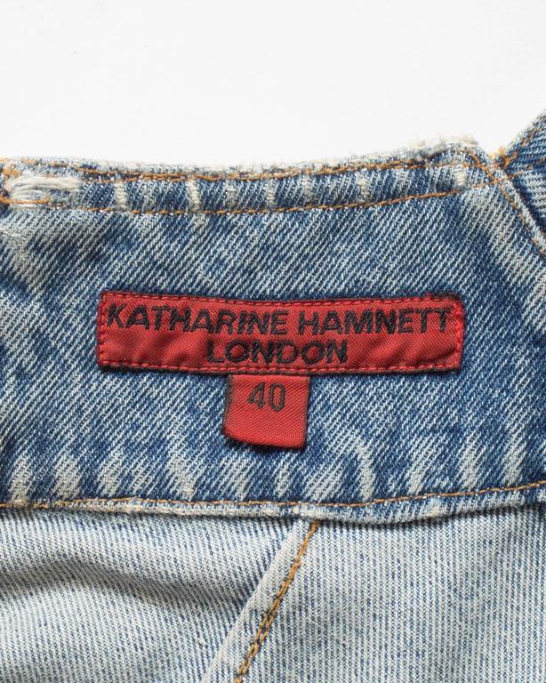 Katharine Hamnett denim mini dress with tassels, circa 1990s For Sale 5