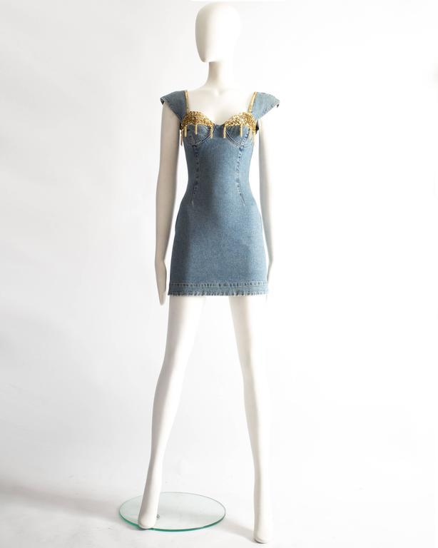 Gray Katharine Hamnett denim mini dress with tassels, circa 1990s For Sale