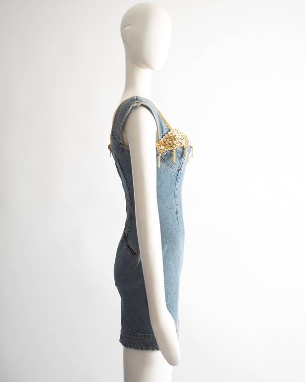Katharine Hamnett denim mini dress with tassels, circa 1990s For Sale 1