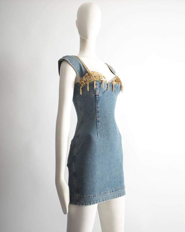 Women's Katharine Hamnett denim mini dress with tassels, circa 1990s For Sale
