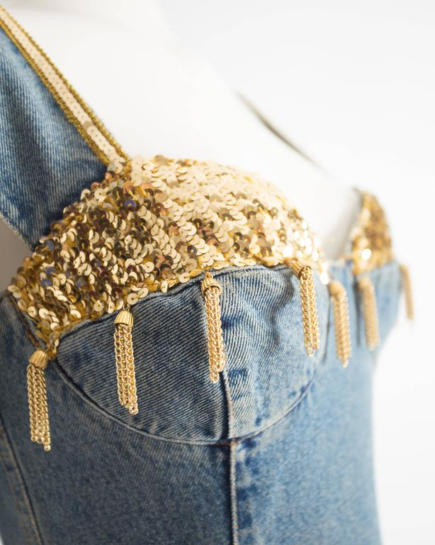 Katharine Hamnett denim mini dress with tassels, circa 1990s For Sale 2