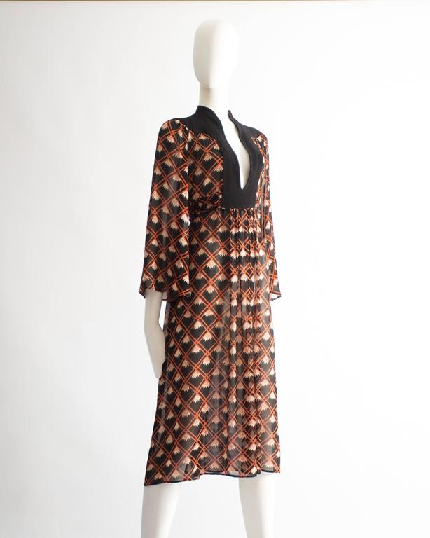 Ossie Clark chiffon mid-length dress with Celia Birtwell print, circa 1972 For Sale 1
