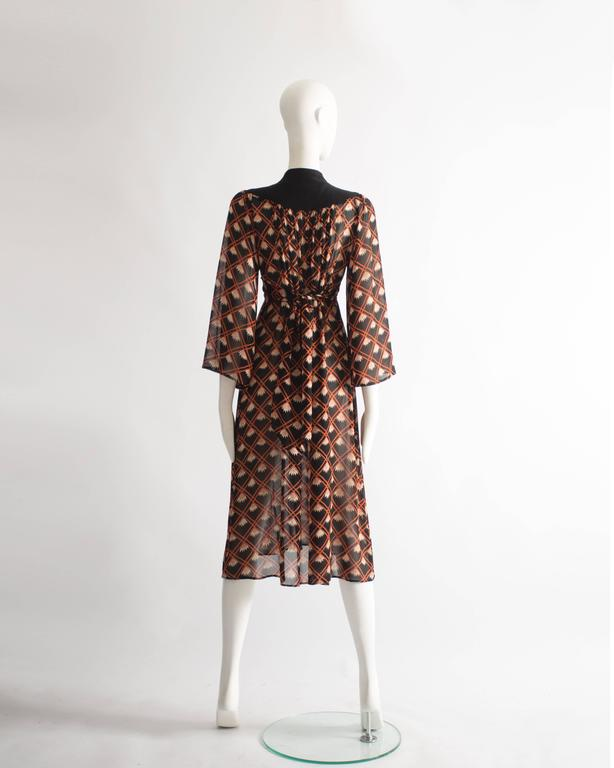 Ossie Clark chiffon mid-length dress with Celia Birtwell print, circa 1972 For Sale 3