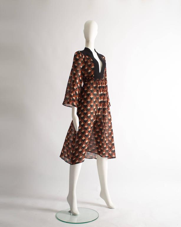 Ossie Clark chiffon mid-length dress with Celia Birtwell print, circa 1972 In Good Condition For Sale In London, GB