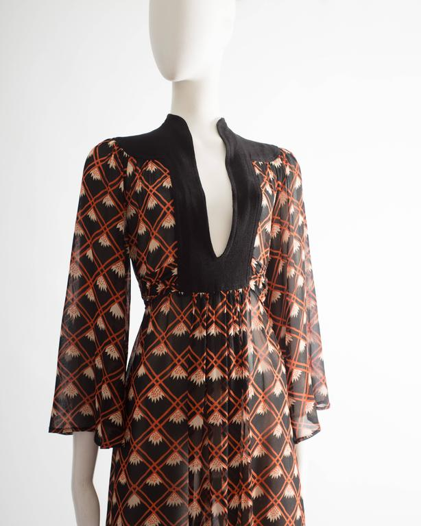 Brown Ossie Clark chiffon mid-length dress with Celia Birtwell print, circa 1972 For Sale