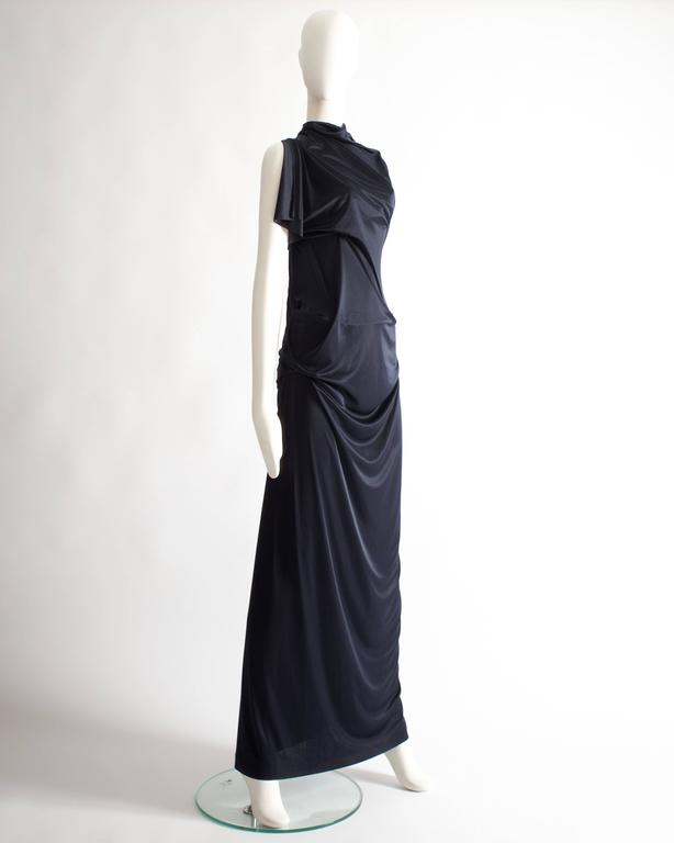 Margiela midnight blue draped evening dress, Spring-Summer 2012 6
