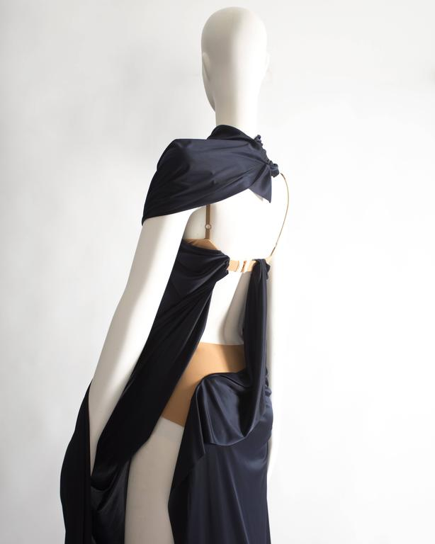 Margiela midnight blue draped evening dress, Spring-Summer 2012 7