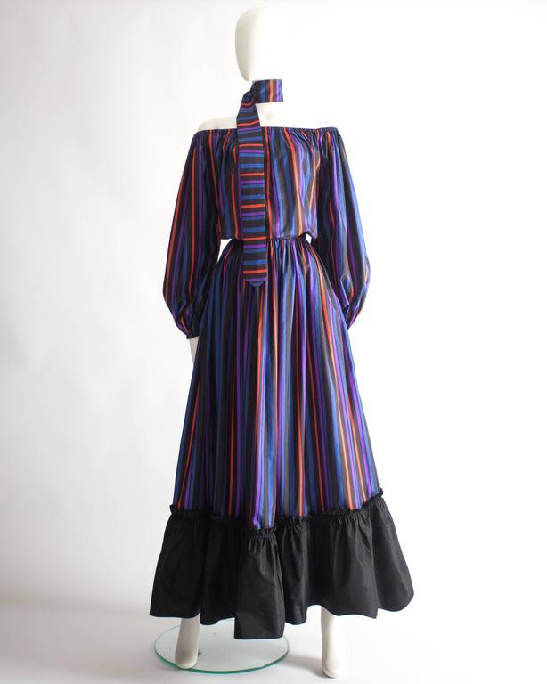 Lanvin Haute Couture silk taffeta off-the-shoulder evening dress, circa 1976 2