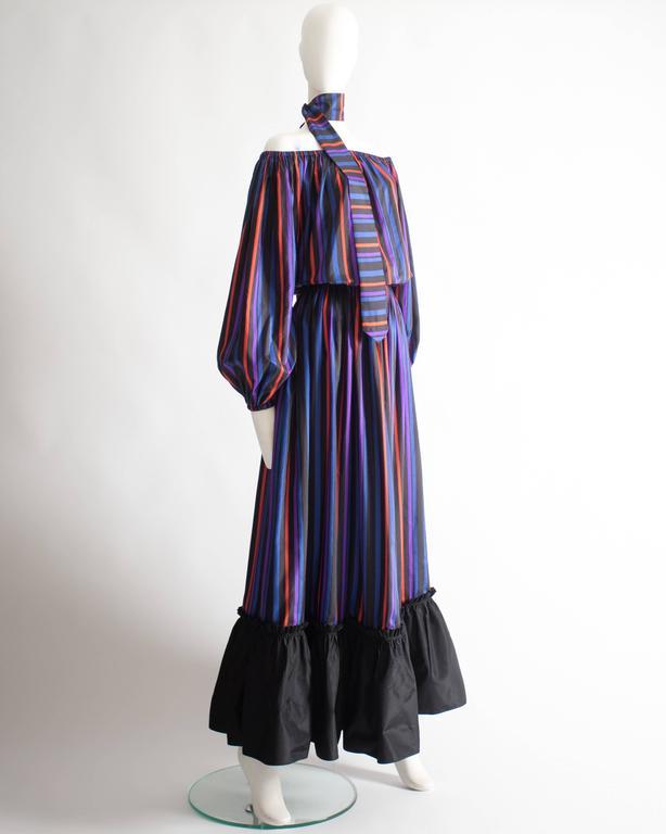 Lanvin Haute Couture silk taffeta off-the-shoulder evening dress, circa 1976 3