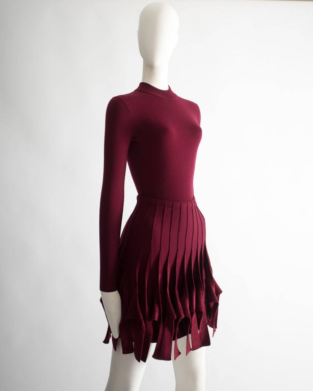 Alaia maroon chenille and wool body and skirt ensemble 3