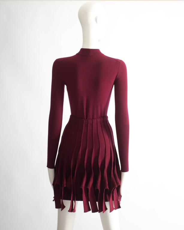 Alaia maroon chenille and wool body and skirt ensemble 7