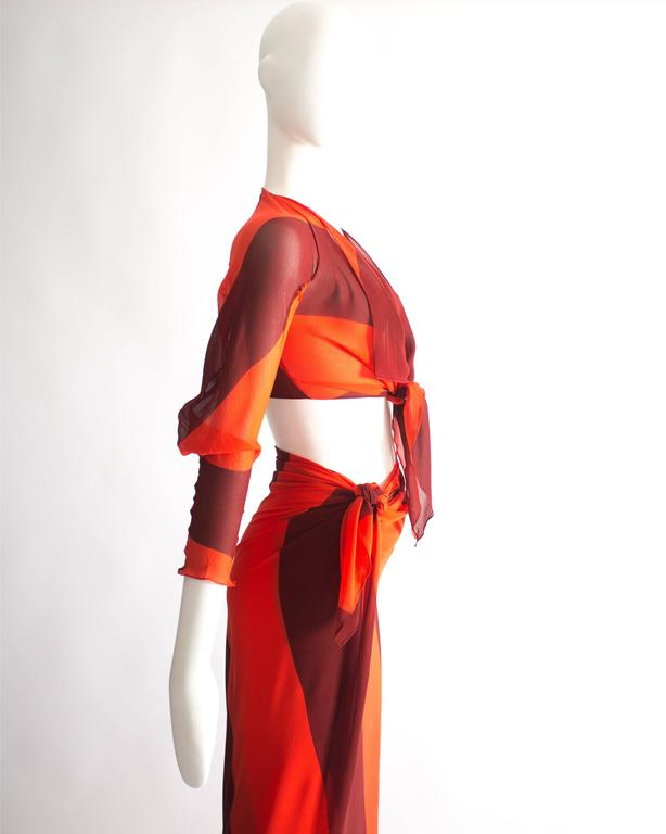 Vivienne Westwood silk chiffon sarong ensemble, Spring-Summer 1998 For Sale 1