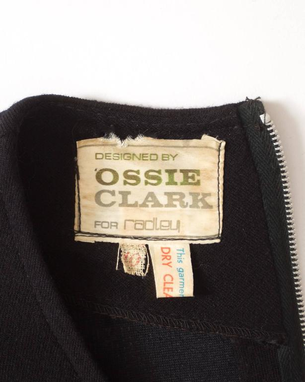 Ossie Clark black wool mid-length dress with cut-outs, Circa 1973 For Sale 3
