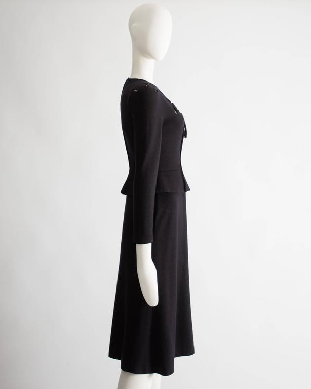Women's Ossie Clark black wool mid-length dress with cut-outs, Circa 1973 For Sale