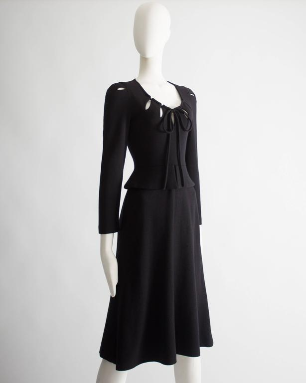 Ossie Clark black wool mid-length dress with cut-outs, Circa 1973 In Good Condition For Sale In London, GB