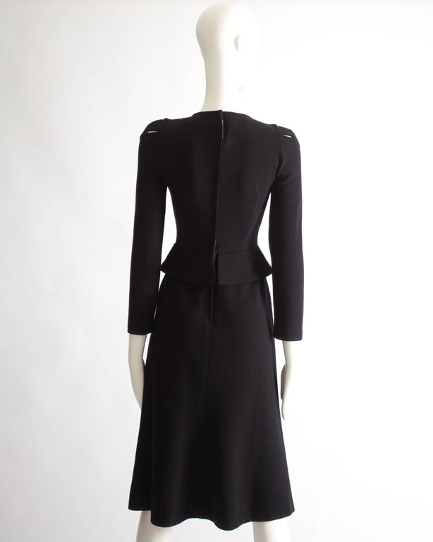 Ossie Clark black wool mid-length dress with cut-outs, Circa 1973 For Sale 2
