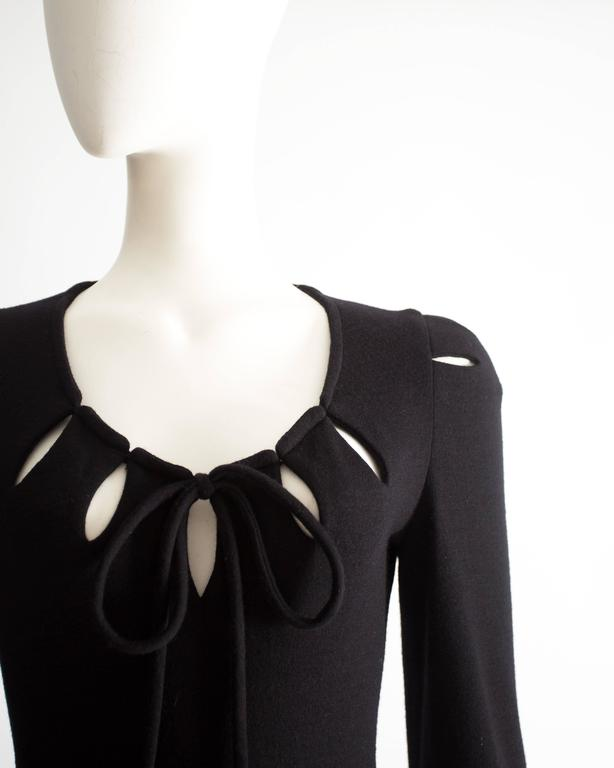 Black Ossie Clark black wool mid-length dress with cut-outs, Circa 1973 For Sale