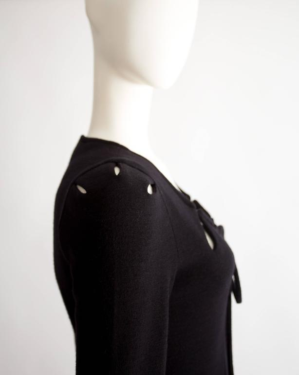 Ossie Clark black wool mid-length dress with cut-outs, Circa 1973 For Sale 1