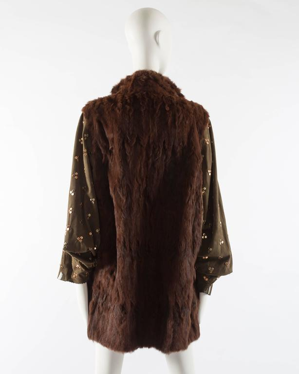 Chloe mink fur coat with studded suede batwing sleeves, circa 1980s For Sale 1