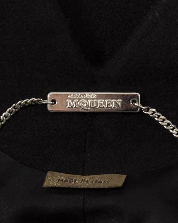 Alexander Mcqueen black wool evening coat, autumn-winter 2008 For Sale 2