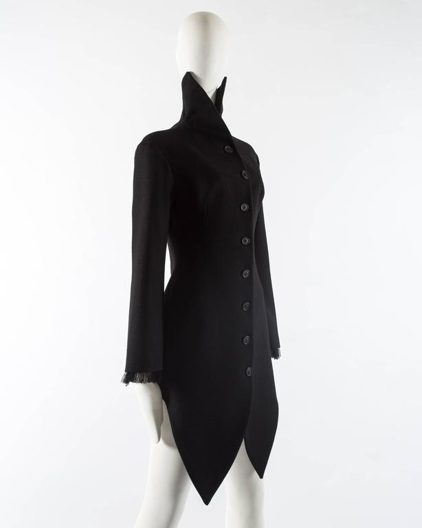 Alexander Mcqueen black wool evening coat, autumn-winter 2008 In Excellent Condition For Sale In London, GB