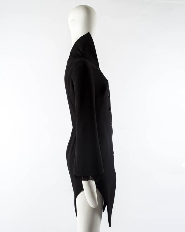 Women's Alexander Mcqueen black wool evening coat, autumn-winter 2008 For Sale