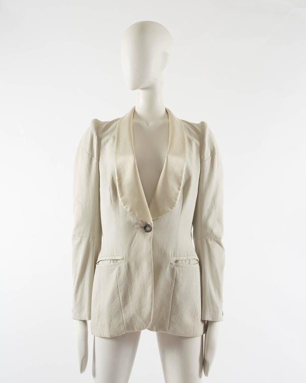 Margiela Spring-Summer 1993 ivory cotton canvas jacket 3