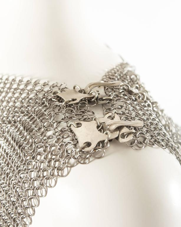 Paco Rabanne silver metal chainmail vest studded with Swarovski crystals For Sale 2