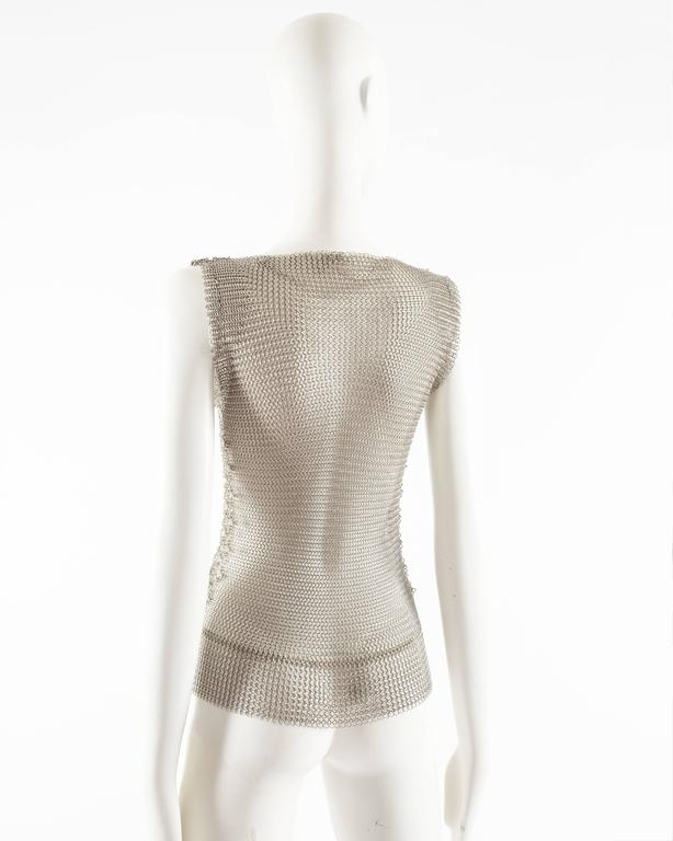 Paco Rabanne silver metal chainmail vest studded with Swarovski crystals For Sale 1
