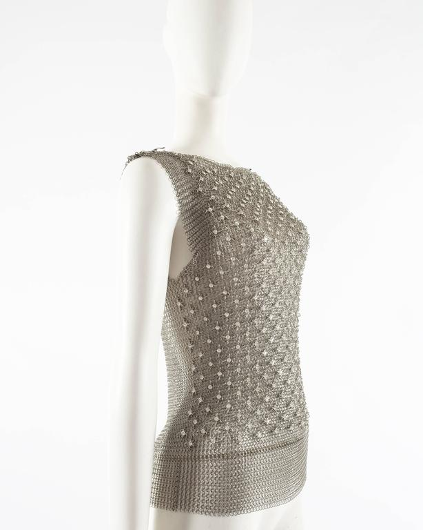 Paco Rabanne silver metal chainmail vest studded with Swarovski crystals In Excellent Condition For Sale In London, GB