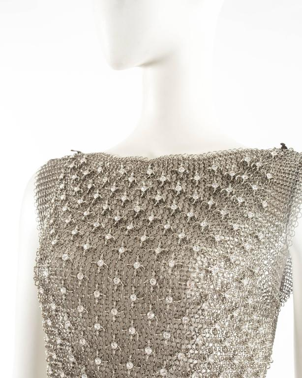 Brown Paco Rabanne silver metal chainmail vest studded with Swarovski crystals For Sale
