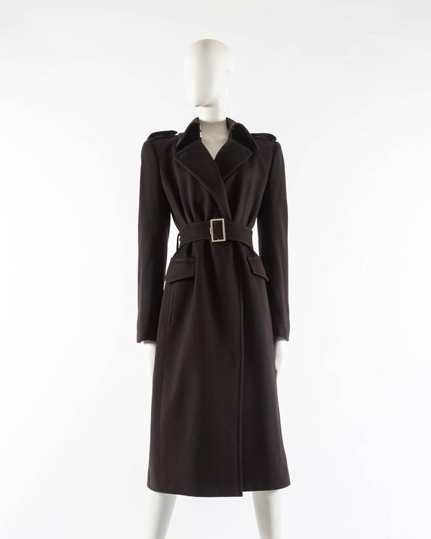 Black Yves Saint Laurent by Tom Ford autumn-winter 2001 brown wool military coat For Sale