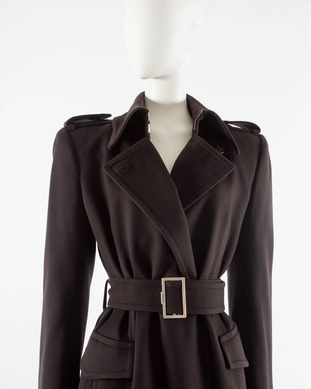 Women's Yves Saint Laurent by Tom Ford autumn-winter 2001 brown wool military coat For Sale