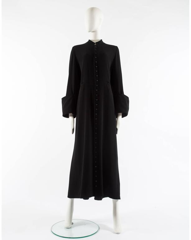 Margiela Autumn-Winter 1992 black cotton full length priest coat 7