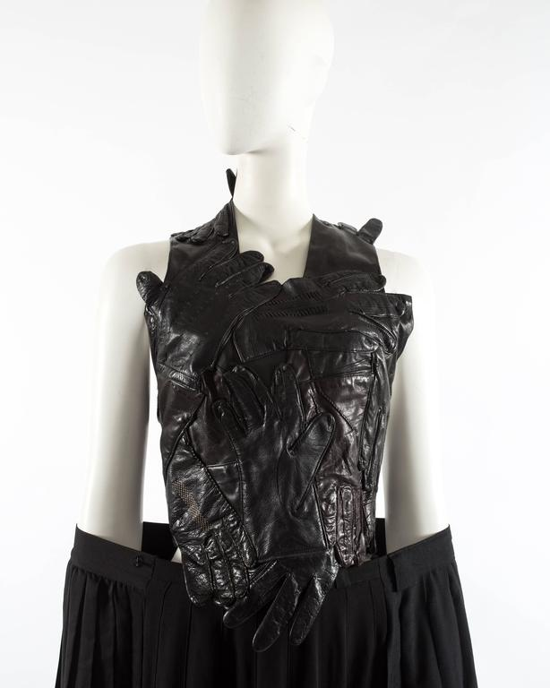Margiela Spring-Summer 2001 artisanal leather glove top and skirt ensemble 9