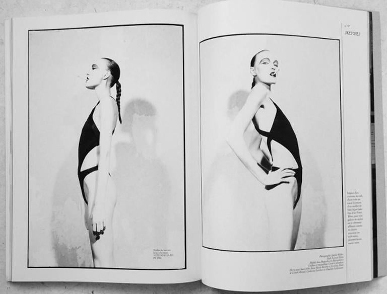 Azzedine Alaia Spring-Summer 1986 bronze acetate knitted bondage bodysuit  - snap button closures  - reference image photographed by Sybille Walter for ENCENS n°19