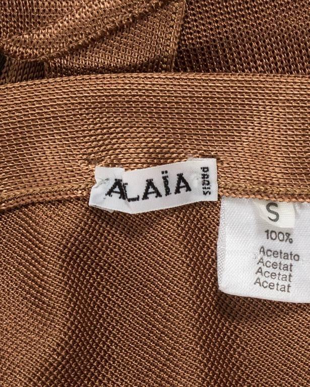 Azzedine Alaia Spring-Summer 1986 bronze acetate knitted bondage bodysuit For Sale 3