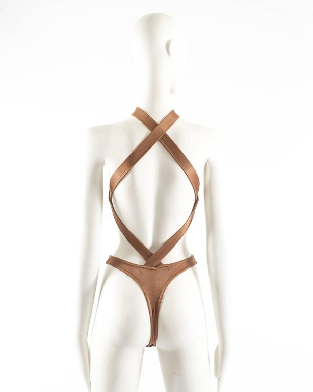 Brown Azzedine Alaia Spring-Summer 1986 bronze acetate knitted bondage bodysuit For Sale