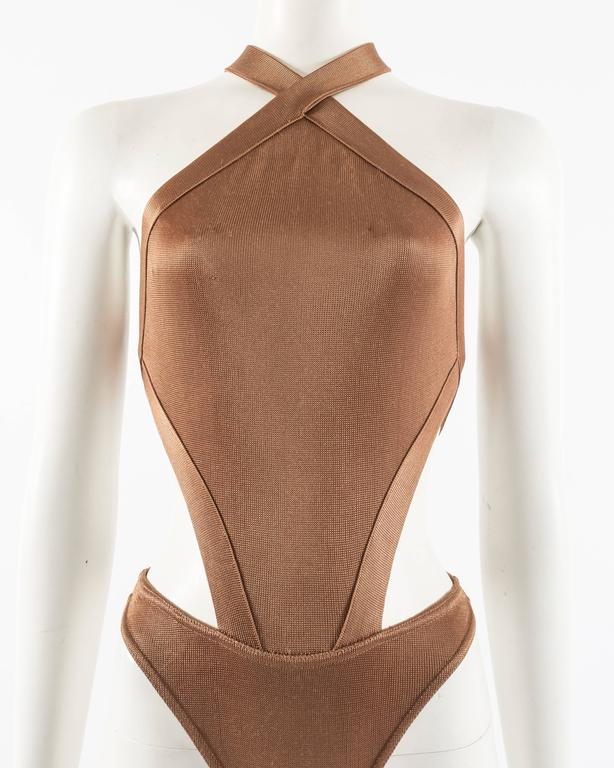 Azzedine Alaia Spring-Summer 1986 bronze acetate knitted bondage bodysuit For Sale 1