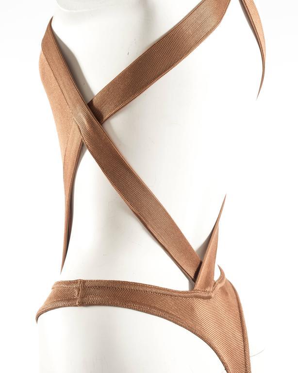 Women's Azzedine Alaia Spring-Summer 1986 bronze acetate knitted bondage bodysuit For Sale