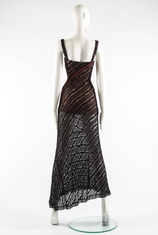 Alaia Autumn-Winter 1993 patterned lace evening dress with built in bra 7