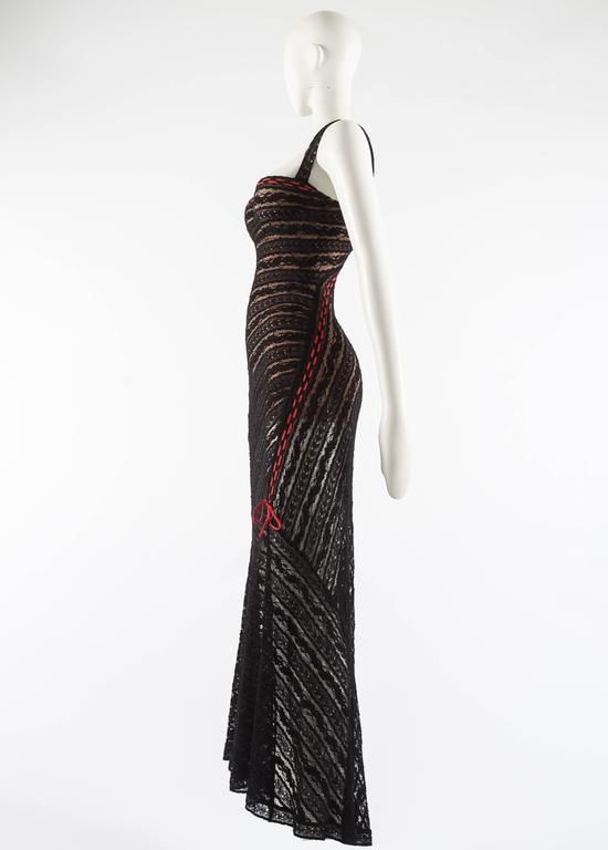 Alaia Autumn-Winter 1993 patterned lace evening dress with built in bra 6