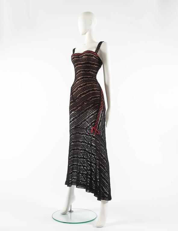Alaia Autumn-Winter 1993 patterned lace evening dress with built in bra 5