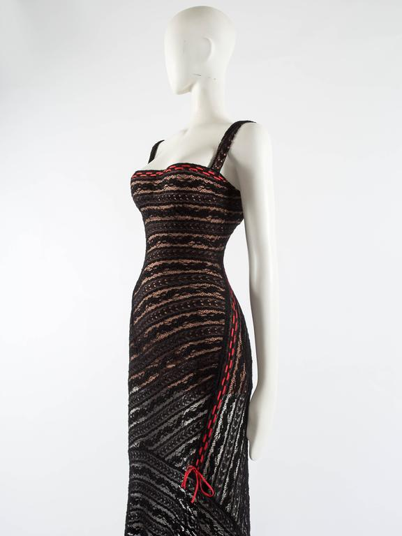 Alaia Autumn-Winter 1993 patterned lace evening dress with built in bra 3